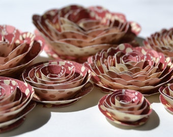 Maroon dot design Handmade Rose Spiral Paper Flowers Vintage Pick and cream dots
