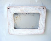 New! Rustic Primitive Antiqued Accent Mirror Ivory White Handmade Boho Country Home Decor Wall