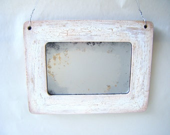 Weathered Rustic Primitive Distressed Accent Mirror Ivory White Beach House Boho Country Decor Cottage Shabby Chic Vintage Coastal