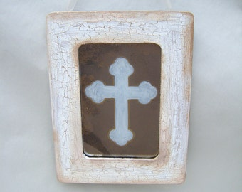 New!  Primitive Cross Antiqued Mirror Prim Vintage Style Shabby Chic Ivory Christ Christian God Religion Jesus French Country