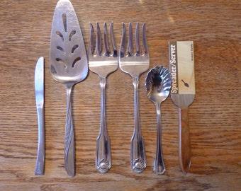 Random Vintage Serving Utensils 2 Forks, Small Knife, Spreading Knife, Pie Server