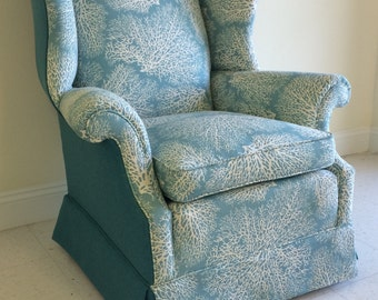 """SOLD. Aqua """"coral"""" print reupholstered winged back chairs"""