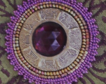Gay 90's Button Brooch, Hand-Beaded, One-of-a-Kind
