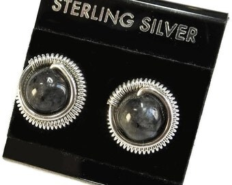 Larvikite & Sterling Silver Coiled Stud Post Earrings