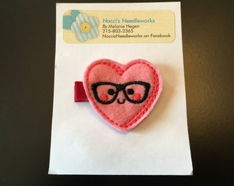Felt Hair Clip- Nerdy Valentine Heart Hair Clip