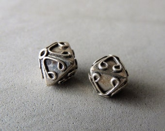 Bali Bi Cone Beads, Sterling Silver Beads, 2 Beads, Bali Silver Spacer Beads, Scroll Work Beads