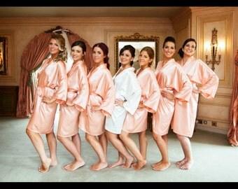 Bridesmaid Robes Coral robes peach robes wedding robes bridesmaid silk robe dressing gown personalized silk robe kimono robes bridal robe