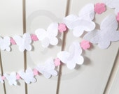Wedding Butterfly Garland - made with wool blend felt in white with pink flowers, perfect for weddings, photo prop or nursery decor