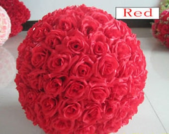 "10"" Silk Red Rose Pomander Kissing Ball for Weddings and Party Decorations"