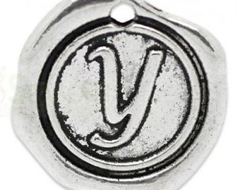"Add On Initial ""Y"" Charm, personalized letter charm, monogram, Personalized Keychain, Personalized Necklace, antiqued silver plated charm"