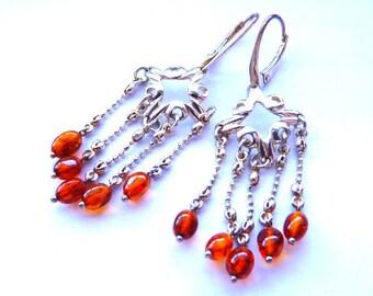 Baltic Amber Jewelry Chandelier Earrings Cognac 925 Silver 2.24″