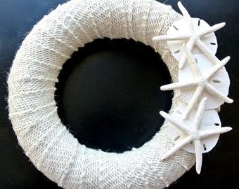 "Starfish Wreath with Sand Dollars- 9"" Rustic Cream Burlap Wreath, Starfish, Beach Wedding Decor,  Shell Wreath, Seaside Decor, Beach House"