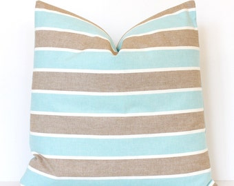 Aqua and Tan Stripe Decorative Designer Pillow Cover Accent Throw Cushion country striped cottage modern nautical turquoise teal beige white