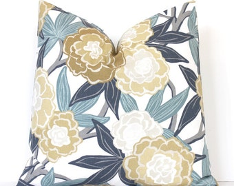 Blue Peony Floral Designer Pillow Cover accent cushion flowers spring botanical blossoms vines leaves white gray grey yellow gold aqua dew