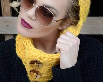 Crochet Cowl Hood, Yellow Hooded Cowl, Pure Wool Hooded Cowl, Chunky Cowl Hood