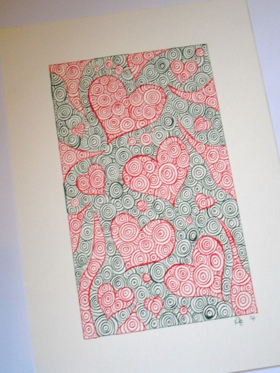 Drawing Red Lines With Green Ink : Abstract art ink drawing red and dark green heart
