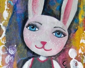 HOP, EASTER, Bunny, ACEO, Print, mixed media, Art, Whimsical, Fur Baby, Joy, Happy, Playful, Spring, mixed media artist, Alicia J Hayes