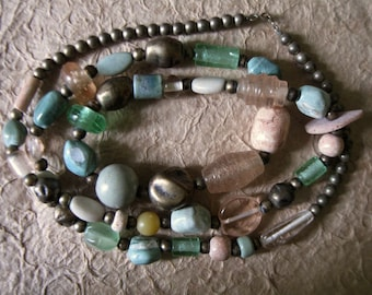 Vintage Very Large Glass, Stone and Silver Bead Necklace