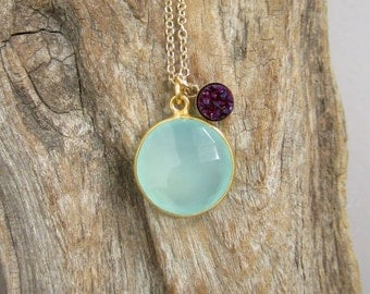 Plum Druzy Necklace Titanium Drusy Quartz Sea Green Chalcedony