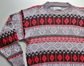 Ugly Ski Sweater for Boys - Nordic Sweater - 80's Sweater - Mens Small Sweater - Gray and Red - Geometric - Hipster - Burlington