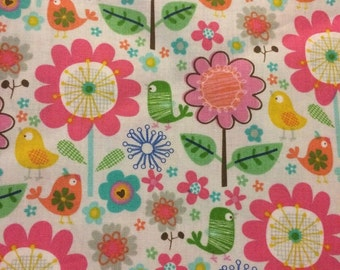 Birds and Flowers - Fabric - Cotton BTY