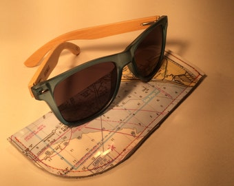 Blue seaglass sunglasses with case