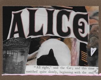 alice in wonderland cat greeting card