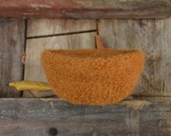 Felted Wool Bowl in Tobacco Brown