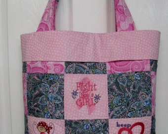 Breast  Cancer  Support  Embroidery Tote Bag Ready To Ship