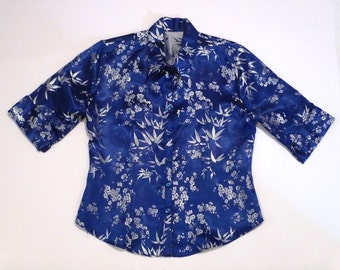 Blue Chinese Top Vintage Chinese Brocade Blouse short sleeve Satin Like Tapestry Silver Bamboo Leaves and Flowers Ladies Ethnic Shirt
