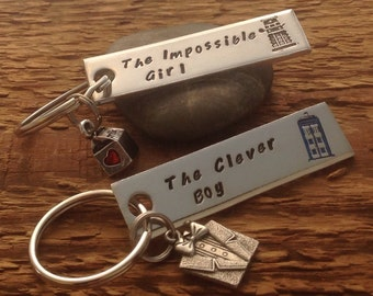 Dr Who inspired Clara and The 11th Doctor hand stamped keychain set