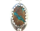 ON SALE silver turquoise pendant,