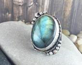 Stargazer labradorite ring, huge labradorite ring, silver and copper ring
