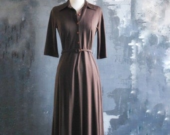 1970s Vintage Brown Shirtdress with Matching Belt