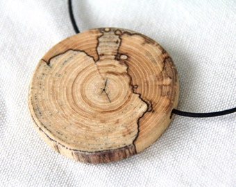 map  - necklace from spalted elm branch pendant on a leather cord