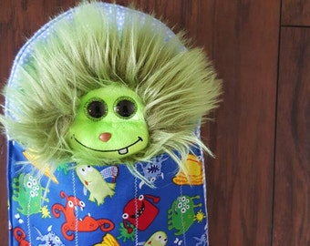 stuffed animal, monster, fuzzy, soft, sleeping bag, Monster in a Blanket, pretend play