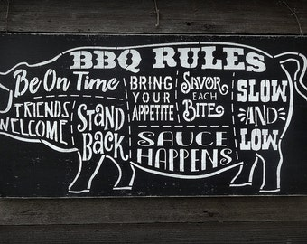 Barbecue BBQ Grill Grilling Rules Pig Father's Day Dad Man Cave Sign Decoration Gift