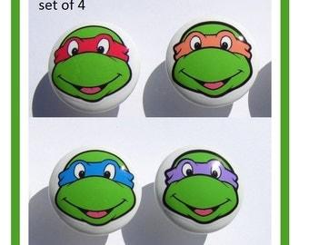 4 Teenage mutant ninja turtles TMNT faces  boys kids  Dresser Drawer Knobs