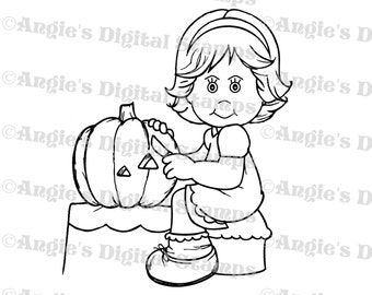 Daisy May Pumpkin Carving Digital Stamp Image