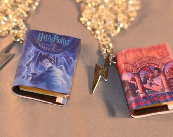 Harry Potter book Pendant With Lightning bolt charm.