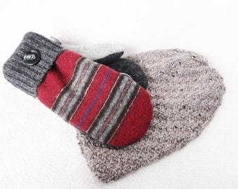 Hat and Mittens Set GREY & RED Mitts and Slouchy Beanie / Fleece Lined Sweater Wool Mittens and Hat Stocking Stuffer Gift Set Under 100