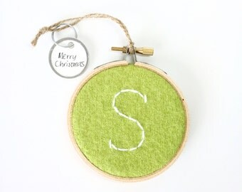 Embroidered Initial Ornament S / Monogram Hoop Art  / S Christmas Ornament / Wall Decor / Green Felted Sweater Wool Ornament by WormeWoole