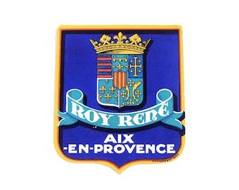 Vintage Grand Hôtel Roi René, Roy Rene hotel luggage label, original unused paper ephemera, decal, sticker, baggage, Aix-en-Provence France
