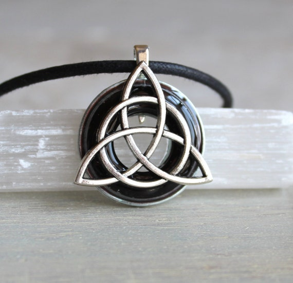 black cherry triquetra necklace, mens necklace, mens jewelry, irish jewelry, unique gift, celtic necklace, celtic jewelry, triquetra jewelry