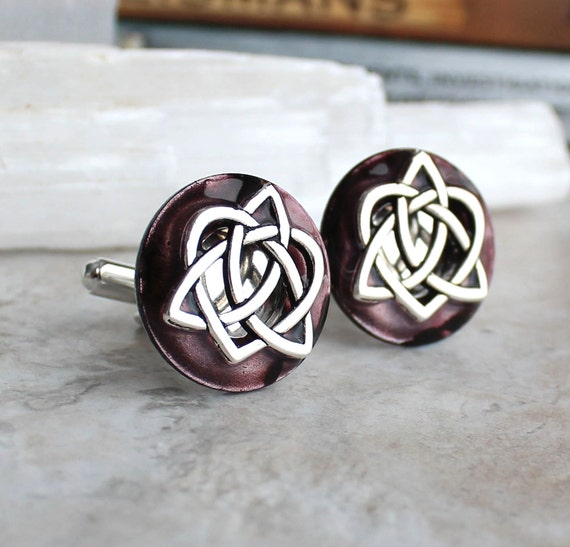 As seen at the 2016 GBK Golden Globes Gift Lounge, wine celtic knot cufflinks, anniversary gift, celtic cufflinks, mens jewelry, mens gift