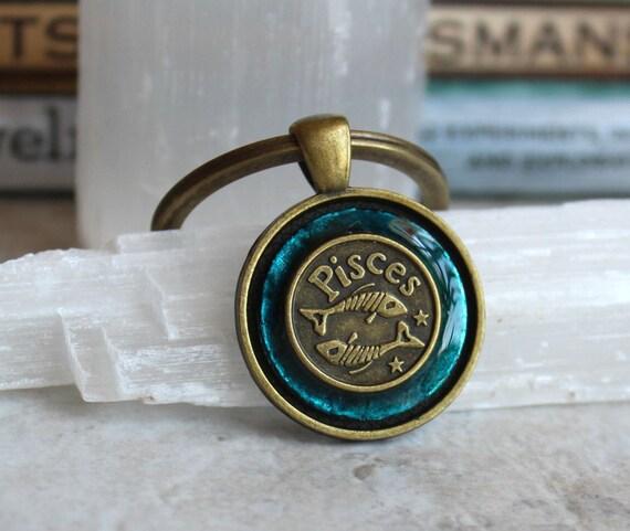 blue pisces keychain, zodiac keychain, birthday gift, astrological sign, March birthday, zodiac sign, february birthday, zodiac keychain