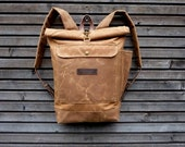 waxed canvas backpack / waterproof backpack with padded shoulder straps and water bottle pocket, unisex collection