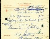 Original 1931 Vintage Opium Colitis Medicine Prescription Doctor Lutgen Surgeon Antique Drug Store Rx Auburn NE