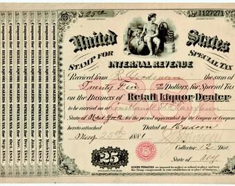 Antique 1881 Moonshine Whiskey Still Liquor License BAR Brewer Distillery War Tax Speakeasy Rare Tarrytown Hudson NY New York