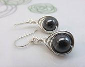 Hematite earrings -  wire wrapped gemstone earrings - black earrings - wire wrapped earrings - sterling silver ear hooks